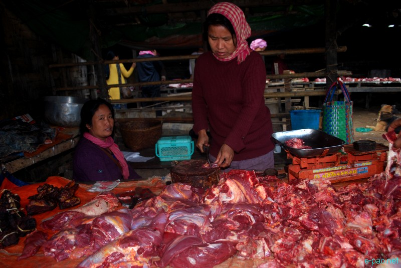 A meat shop at Moreh, Manipur-Burma border town