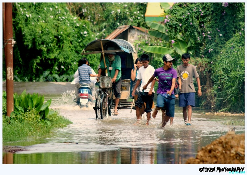 Flooding at Sagolband Meino Leirak, Imphal due to the heavy downpour for the last 2 days on September 10 2012