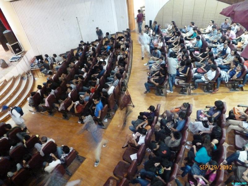 A Students gathering at Shankar Lal Concert Hall, University of Delhi in September 2012