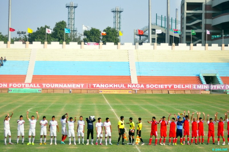 A match during the 6th RN Tamchon Memorial Football Trophy 2012 at New Delhi